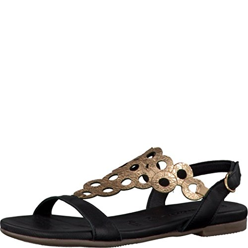 Tamaris Damen Sandaletten Schwarz/Rotgold, Schuhgröße:EUR 40