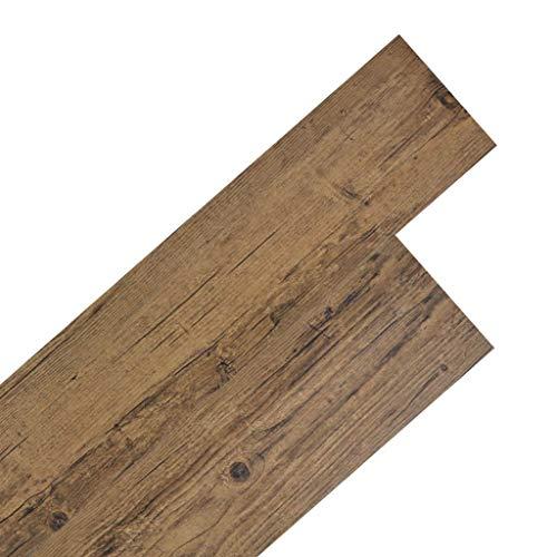 vidaXL Planche de Plancher PVC Autoadhésif Marron de Noyer Dalle de Plancher