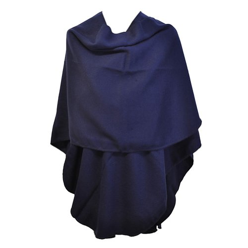 TOUTACOO Großer Damen-Poncho - Hergestellt in Frankreich 03-Blau