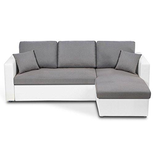IDMarket - Canapé d'angle Convertible Emma avec Coffre de Rangement Blanc et Gris