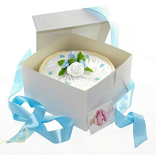 Pampers Windeltorte für Junge in Cakebox blau – Geschenke zur Geburt – dubistda© handmade