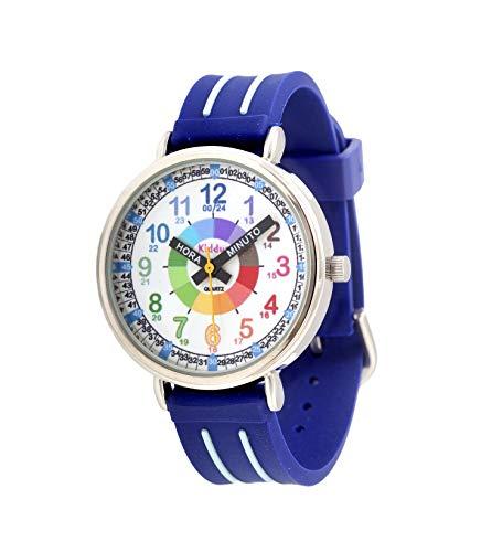 KIDDUS Reloj Educativo para niño, Chica, Chico. De Pulsera, analógico. Time Teacher fácil de Leer para Aprender la Hora. Ejercicios incluídos. Mecanismo de Cuarzo japonés. KI10309 Manillas escritas