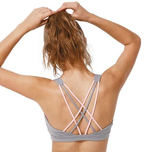 Leicht Gepolsterte Bügel-bh (Yvette Sport BH Leichter Halt Gekreuzt Rücken Gepolstert Große Größe ohne Bügel Fitness Yoga Bra, Grau, 3XL(D-F) für 100D 100E 100F)