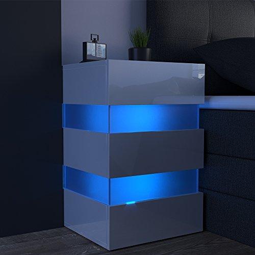 2x Nachttisch Set LED 70cm hoch für Boxspringbett Weiß Hochglanz ...