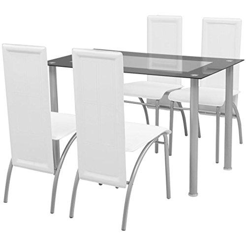 Festnight- set sala da pranzo/tavolo cucina con sedie 5 pezzi bianco