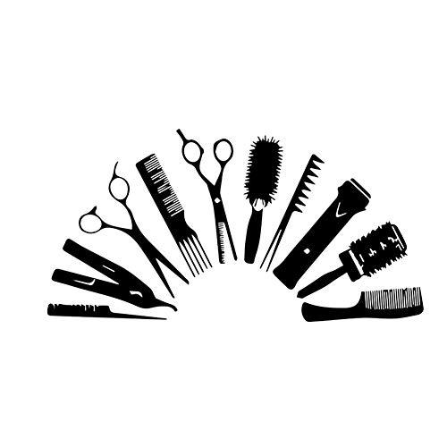 Etiqueta de la Pared del Peine Tijeras Peluquería extraíble del Papel Pintado de la Pared del Vinilo de la barbería para Escaparate Decoración Negro