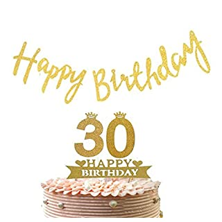 Alemon Thirty 30th Cake Topper & Happy Birthday Banner Party Supplies Decoration - 2 in 1 Kit