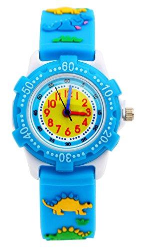 Jungen Mädchen Analog Uhren, Kinder wasserdicht Spielzeug Teaching Uhren, Kleinkind Zeit Lehrer Armbanduhr Geschenke für Kinder mit Umweltfreundlich 3D Cute Cartoon Silikon Strap UEOTO