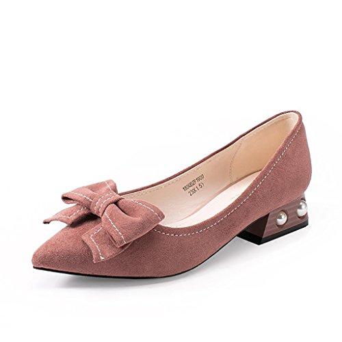 Chaussures Bowknot élégantes Chaussures plates à talons hauts Rose