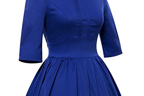 LUOUSE Vintage années 50 's Style Audrey Hepburn Rockabilly Swing, Robe de soirée cocktail Bleu