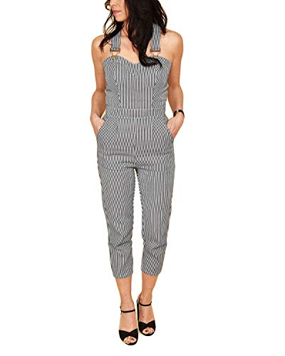 Voodoo Vixen Damen Latz-Jumpsuit Anthea Fitted Stripe (Mehrfarbig, M)