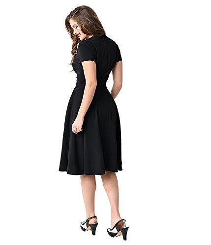 iLover 50s Rockabilly robe vintage encolure en V évasé robes Audrey plissés Noir