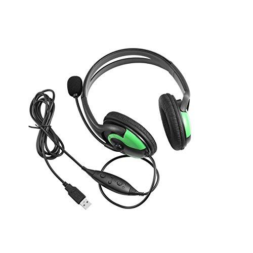 Wired Stereo-Kopfhörer-Kopfhörer der heißen Neue Over-Ear-Mikrofon, für Sony Video-Chat PS3 Gaming PC (Schwarz und grün)