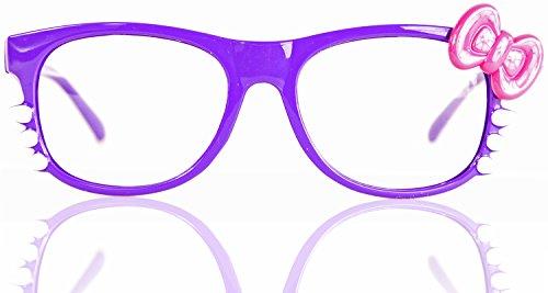 ne Seh-Stärke Damen Fenster-Glas Fasching Karneval Lila Pink Panto-brille Wayferer Horn-Brille Party-Brille (Nerd Halloween Kostüme Für Mädchen)