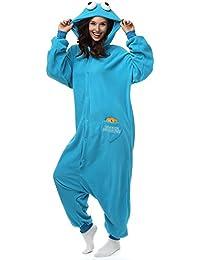 einteilige unisex pyjamas fur erwachsene nachtwasche aus polar fleece cartoon und tiermotive cookie monster