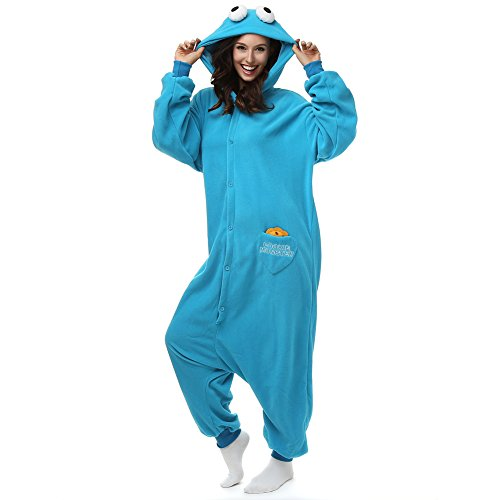 Einteilige Unisex-Pyjamas für Erwachsene, Nachtwäsche aus Polar-Fleece, Cartoon- und Tiermotive, Cookie Monster, Halloween-/Cosplay-Kostüm (Und Kostüm Ernie Bert)