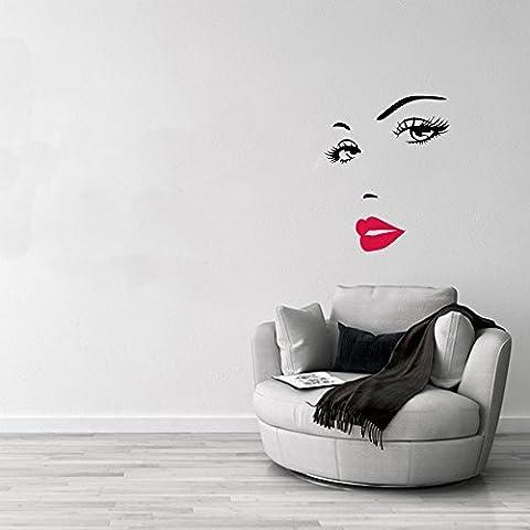 4yourpet - Vinilo decorativo para pared (70 x 60 cm), diseño de Marilyn Monroe con labios pintados de rojo
