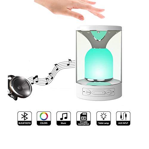 ZRR Nachttischlampe mit Bluetooth Lautsprecher, Bluetooth Wireless Portable MP3-Lautsprecher Dynamic Light, HD-Audio im Unterstützungs-TF-Karte AUX-in Freisprechen, Kinder/Freunde