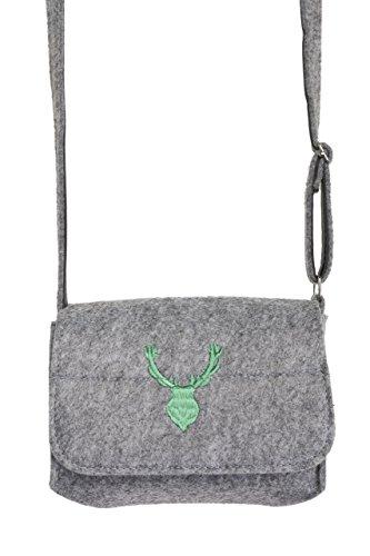 Trachtentasche Elch - Filz Trachten Tasche für Dirndl und Lederhose (Grau)