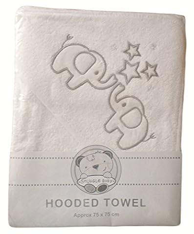 Baby Boys Girls Cute White Elephants Hooded Bath Towel (Approx size 75 x 75cm)