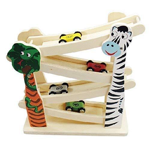 Rampa de Madera Coches. Juguetes de Aprendizaje zig Zag tobogán Click clack Cars jugle Safari Pista de Carreras 4 Roller vagones para los niños 3 Anos