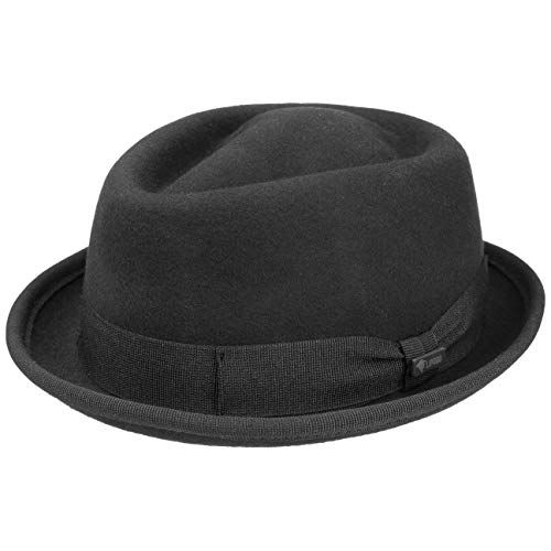 Lipodo Gratus Pork Pie Filzhut Damen/Herren | Hut aus Wollfilz | Made in Italy | Fedora Sommer/Winter | Porkpie mit Ripsband | Wollhut schwarz L (58-59 cm)