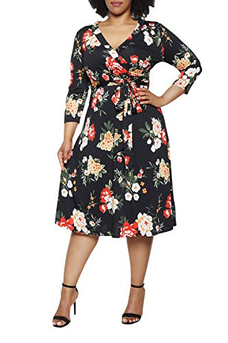 Viottiset Women's Plus Size 3/4 Sleeve Faux Wrap Floral Dress with Belt Black XL (Black Wrap Dress Plus Size)