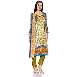 BIBA Women's Dress Material (KO AW17 HEENA 304_OLIVE_FREE)