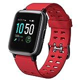 willful Smartwatch Impermeable Reloj Inteligente con Pulsómetro, Pulsera Inteligente para Deporte con Cronómetro, Podómetro. Smartwatch Hombre Mujer Niños para Android iOS Xiaomi Huawei iPhone(Rojo)