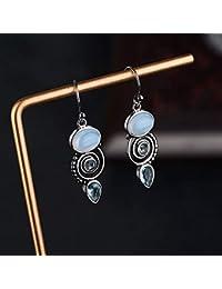 5702b261b183 Weiduoli Pendientes. Pendientes para Mujer con Incrustaciones de topacio  Azul. Regalo.