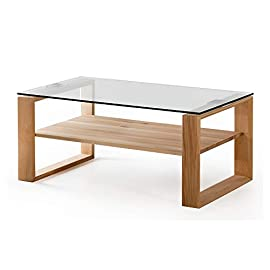Amazon Brand – Alkove Hayes Solid Wood Coffee Table, 100 x 60 x 48cm, Glass & Core Beech