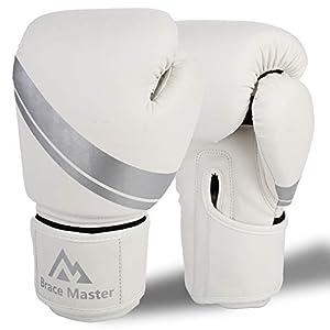 Brace Master Boxhandschuhe Leder infundiertes Gel, Trainingshandschuhe für Sparring, Kickboxen, Boxsack, Kampf, Fausthandschuhe, Muay Thai, Sport & Outdoor Spiele für Männer und Frauen 8-16 OZ (Weiß, 14OZ)