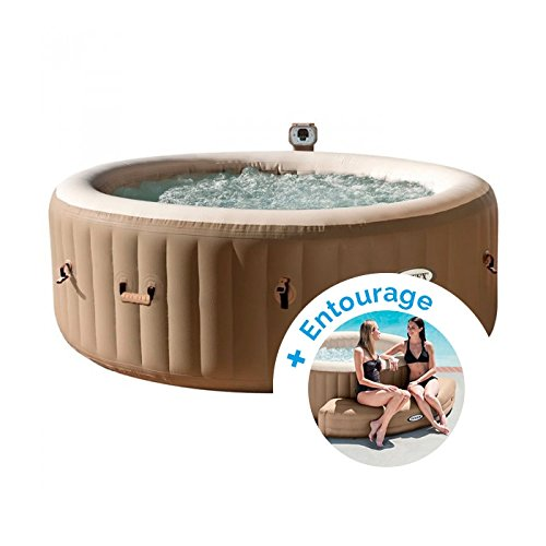 INTEX Spa Gonflable PureSpa Bulles 4 Personnes + Entourage Gonflable