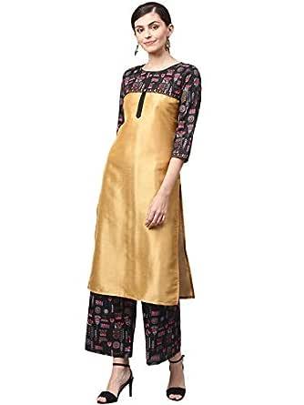 Ziyaa Women's Golden Khadi Print Straight Polysilk Kurta With Palazzo / Salwar Suit Set