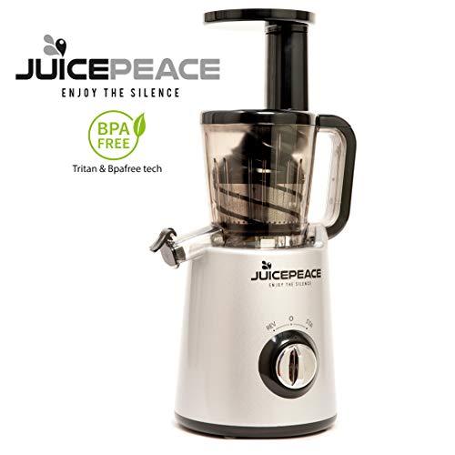 Juicepeace Siquri Estrattore di succo a freddo silenzioso, compatto, BPA free a 32 giri/minuto
