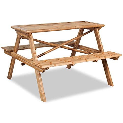 binzhoueushopping Table de Pique-Nique Durable et Facile à Nettoyer en Bambou de qualité 120 x 120 x 78 cm Convient Votre Jardin ou sur Votre Patio