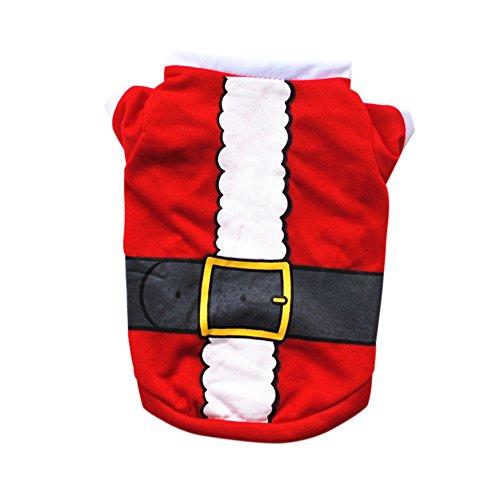 CricTeQleap Weihnachten Hundekleidung Niedlichen Weihnachtsmann Muster Winter Hund Pullover Weihnachten Kostüm Red ()