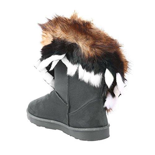 La Modeuse Boots en Suédine avec Col en Fourrure Multicolore (Noire, Marron, Blanche) Gris
