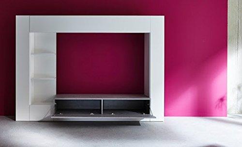 Dreams4Home Medienwand 'Laia',TV-Schrank,Wohnwand, Wohnmöbelkomibation,Schrank, Wohnzimmerschrank, Wohnzimmer (B/H/T) ca. 209 x 156 x 42 cm,weiß Glanz / grau, Beleuchtung:mit Beleuchtung - 2