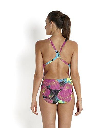 Speedo Damen Colourbeat Powerback mit Allover-Print Badeanzug Mehrfarbig(Black/Diva/Bali Blue)