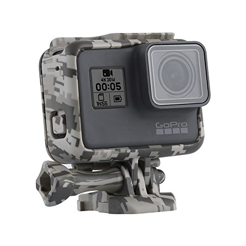 TELESIN Camouflage Protective Frame Mount Housing Camera Border With Quick Release Buckle And Screw For GoPro Hero 6 Hero 5 Accessory (Gray)