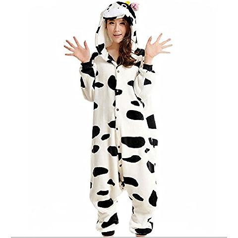 Cliont Animal de la vaca Pijamas Kigurumi la ropa de noche del traje del Anime de Cosplay Nightclothes Onesie