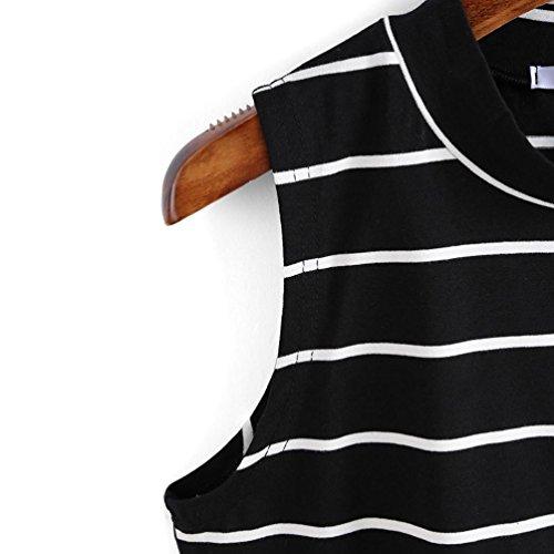 Femmes Hauts sans manches , Transer ® Mode femme T-Shirt sans manches à rayures élégantes débardeurs Noir