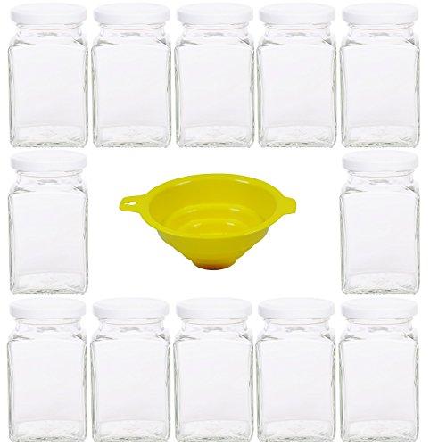 Viva Haushaltswaren - 12 x eckiges Marmeladenglas / Gewürzglas 260 ml mit weißem Schraubverschluss, Gläser Set mit Deckel als Einmachgläser, Vorratsdose etc. verwendbar (inkl. Trichter) (12 Glas-topf Mit Deckel)