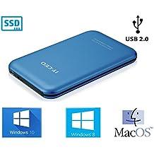 """Allcam - Caja cerrada para disco duro SATA (2,5"""") compatible con SATA-II (USB 2.0, montaje sin herramientas) azul"""
