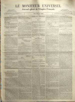 MONITEUR UNIVERSEL (LE) N? 87 du 28-03-1854 SOMMAIRE - PARTIE OFFICIELLE - DECLARATION CONCERNANT LES MINISTRES DE COMMERCE RUSSE - PARTIE NON OFFICIELLE - SENAT - CORPS LEGISLATIF - LA QUESTION D'ORIENT PAR ME W - MOUVEMENTS DES BATIMENTS DE LA MARINE IMPERIALE - DOCUMENTS COMMERCIAUX - FAITS DIVERS DE PARIS DES DEPARTEMENTS ET DE L'ETRANGER - CONCOURS POUR LA NOMINATION D'AGENTS VOYERS A DIGNE - NOUVELLES ETRANGERES - BOURSES ET MARCHES - ACADEMIE DES SCIENCES - LETTRE DE M DE D - VARIETES ...