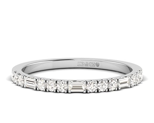 0.35ct Claw Set Round Brilliant and Baguette Cut Diamonds Half Eternity Ring Available in Gold and Platinum (9ct White Gold, P)