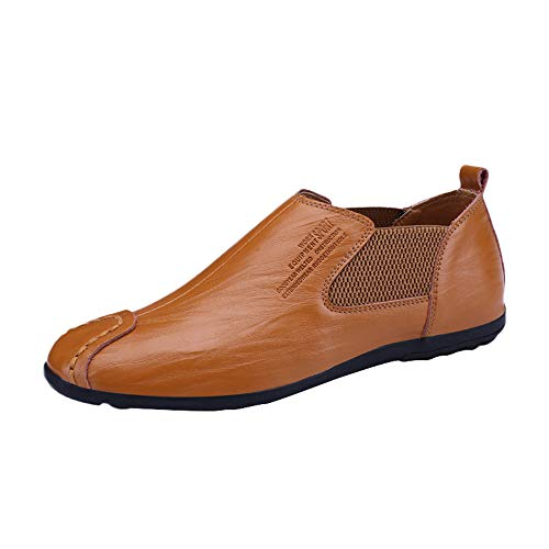 KonJin Men's Loafers Slip-on Driving Shoes Casual Moccasins House Indoor Outdoor Rubber Sole Loafers Shoes Womens Lace Up Chaps