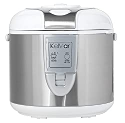 KeMar KRC-118 Kitchenware Reiskocher, Dampfgarer, Warmhaltefunktion, Weiß, 1,8 L, 700 Watt