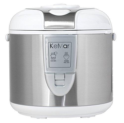 KeMar Kitchenware KRC-118 Reiskocher, Dampfgarer mit Warmhaltefunktion, BPA-frei, Weiß, 1,8 Liter, 700 Watt